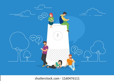 Smart speaker with virtual assistant concept vector illustration of people standing near speaker symbol using smartphone and tablet. Flat group of women and men with speech bubbles on blue background