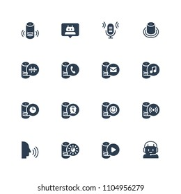Smart speaker and virtual assistant related vector icon set in glyph style