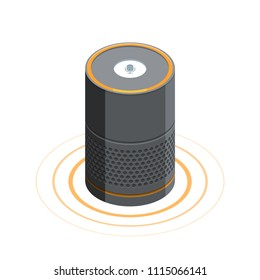 Smart speaker Voice assistant 3D isometric