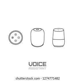 Smart speaker. Voice assistant and voice command device line icon