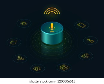 Smart speaker with voice assistant  control of your home. Voice activated devices reports the news,  answers questions.  Isometric concept  recognition speech,   hi tech gadget. Voice assistant 3D.