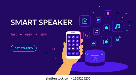 Smart speaker, voice command device connected to smartphone and useful apps. Flat vector neon website template and landing page design of human hand with smart phone mobile applications and speaker