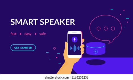 Smart speaker, voice command device with integrated virtual assistant. Flat vector neon website template and landing page design of human hand holds smartphone connected to speaker with speech bubble
