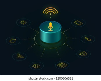 Smart speaker with voice control of your home. Voice activated devices reports the news, plays music, answers questions.  Isometric concept  recognition speech,   hi tech gadget. Voice assistant 3D.