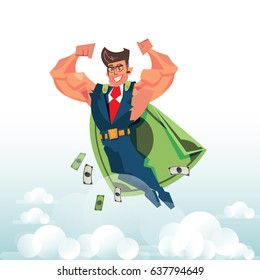 Smart and strong businessman flying in the sky with banknotes as blanket with Money hero concept - vector illustration