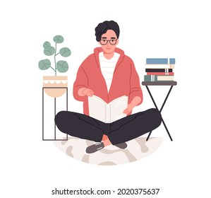 Smart student preparing for exam at home. Young man in eyeglasses studying and reading textbooks. Reader sitting on floor and learning. Flat vector illustration isolated on white background