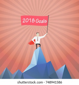 """Smart and Success Businessmen holding flag sign with massage """"Goals for 2018"""" on top of mountain background - Vector."""