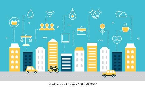 Smart Sustainable City Development Vector Illustration. Flat Style