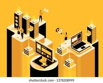 Smart system. Abstract technology concept. Digital marketing, digital technologies. Vector isometric illustration