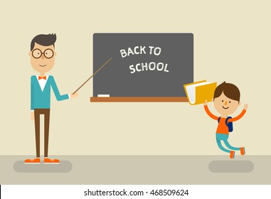 Smart teacher in glasses is standing near a blackboard with a cute student. Back to school concept. Vector illustration flat design.