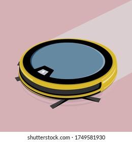 Smart Technologies. Robot vacuum cleaner on white floor. vector illustration.
