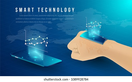Smart technology and Cryptocurrency and blockchain Isometric Concept. modern technology with Mobile Phone and smart watch. analysts and managers working on blockchain start up