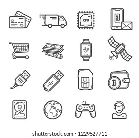Smart technology devices and digital innovation industry icons. Vector linear gadgets and credit card, delivery truck and computer, CPU chipset and smartphone shopping card, hard drive and satellite