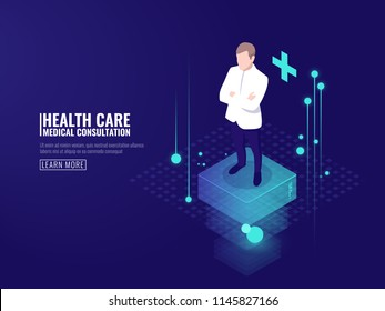 Smart technology in healthcare, doctor stays on platform, online medical consultation isometric vector dark neon