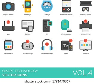 Smart technology icons including digital camera, MP4, CD player, handheld console, gaming, wifi, devices, CPU, wireless mouse, printer, watch, VR, headset, TV box.