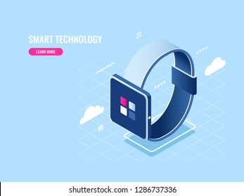 Smart technology isometric icon of smartwatch, digital devise, mobile application flat vector illustration