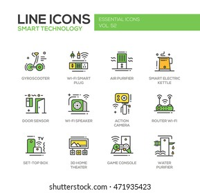 Smart Technology - modern vector line design icons and pictograms set. Gyrosooter, plug, air, water purifier, electric kettle, door sensor, router, set-top box, home theater, game console