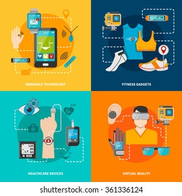 Smart technology set for healthcare fitness virtual reality wearable technology vector illustration