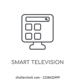 smart Television linear icon. Modern outline smart Television logo concept on white background from Smarthome collection. Suitable for use on web apps, mobile apps and print media.