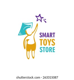 Smart toys store logo idea template. Kid in a graduation hat reaching for the star.