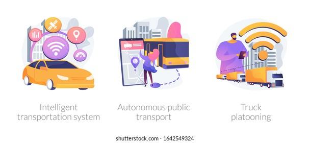 Smart traffic management, Internet of Things. Intelligent transportation system, autonomous public transport, truck platooning metaphors. Vector isolated concept metaphor illustrations.