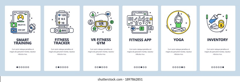 Smart training. Fitness tracking app, virtual reality gym, yoga, sport inventory. Mobile app onboarding screens. Vector banner template for website and mobile development. Web site design illustration