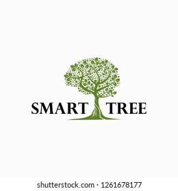 Smart Tree, Tree with Brain Concept Abstract