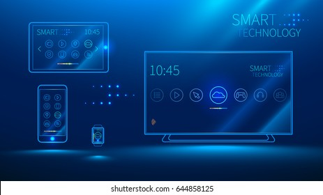 smart TV communicates with your smart phone, tablet, smart watch. Media devices connected to the cloud.