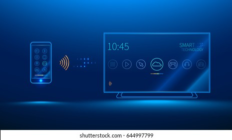 The smart TV is controlled by a smart phone, transmits information via the cloud