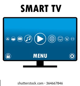 Smart TV with different icons, flat design, vector illustration.