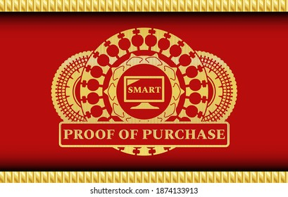smart TV icon and proof of purchase text Gold and Red color realistic badge. Traditional fancy background. Artistic illustration.