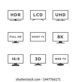 Smart TV icon set. Black line TV screens isolated on white background. Web TV features: HDR, LCD, UHD, full HD, 8K, 16:9. Vector illustration, flat design