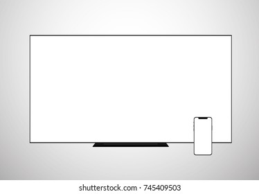 smart TV Lcd screen monitor and smartphone templates set. display vector illustration