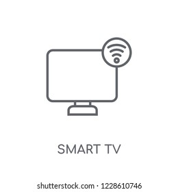 Smart tv linear icon. Modern outline Smart tv logo concept on white background from Smarthome collection. Suitable for use on web apps, mobile apps and print media.