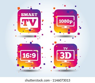 Smart TV mode icon. Aspect ratio 16:9 widescreen symbol. Full hd 1080p resolution. 3D Television sign. Colour gradient square buttons. Flat design concept. Vector