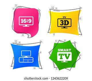 Smart TV mode icon. Aspect ratio 16:9 widescreen symbol. 3D Television and TV table signs. Geometric colorful tags. Banners with flat icons. Trendy design. Vector