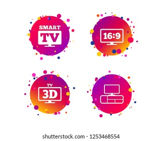 Smart TV mode icon. Aspect ratio 16:9 widescreen symbol. 3D Television and TV table signs. Gradient circle buttons with icons. Random dots design. Vector