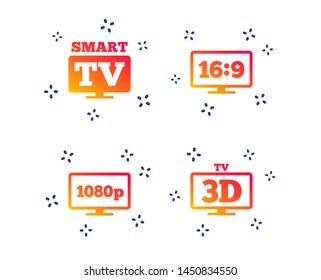 Smart TV mode icon. Aspect ratio 16:9 widescreen symbol. Full hd 1080p resolution. 3D Television sign. Random dynamic shapes. Gradient television icon. Vector