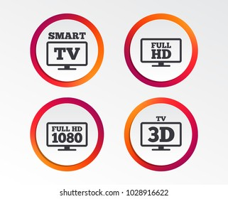 Smart TV mode icon. Widescreen symbol. Full hd 1080p resolution. 3D Television sign. Infographic design buttons. Circle templates. Vector