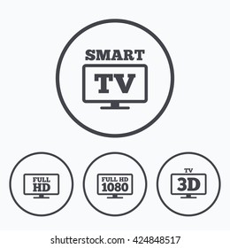 Smart TV mode icon. Widescreen symbol. Full hd 1080p resolution. 3D Television sign. Icons in circles.