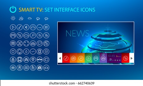 Smart tv. Set icons for smart tv interface. VECTOR mock up. Template