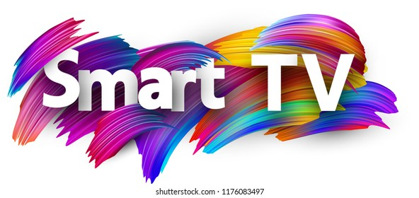 Smart TV sign with spectrum brush strokes on white background. Colorful gradient brush design. Label template. Vector paper illustration.