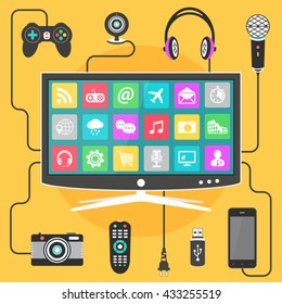 Smart TV vector design template. Modern digital devices connected to a television.