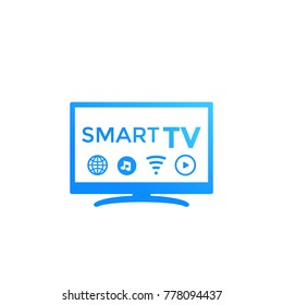 Smart tv vector icon on white