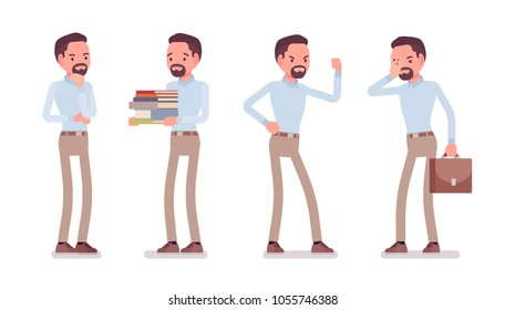 Smart unhappy middle aged man in buttoned up shirt and camel skinny chino trousers, negative emotions. Business stylish workwear trend and office city fashion. Vector flat style cartoon illustration