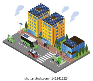 Smart urban ecology isometric composition with street view of solar energy powered buildings and electric transport vector illustration