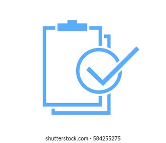 Smart vector illustration for companies with passed inspections. Blue graphic icons on white background with marked checklist for compliance verification.