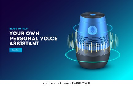 Smart voice recognition gadget. Home adviser or personal assistant. Artificial intelligence technology device.