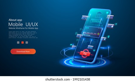 Smart wallet concept with credit or debit card payment application on smartphone screen. Internet banking app. Mobile phone payment with NFC technology, High level payment security. E-payment screen
