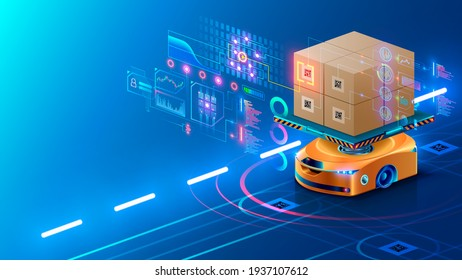 Smart warehouse technology. Automated robot delivers an order box in smart automated warehouse. Drone swarm of robots in logistic industry. AI routes autonomous rovers and manages a smart warehouse.